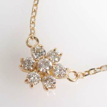18金ゴールド ダイヤモンド 0.35ctフラワーデザイン ペンダント ネックレス typeAAA送料無料