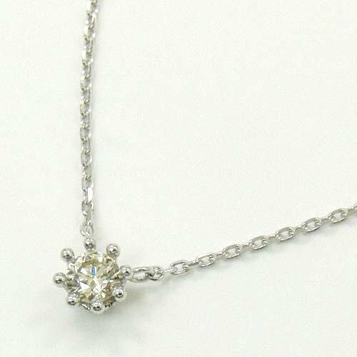 K18WG・K18の2種類よりお選びください。天然ダイヤモンドtypeAA 0.25ctミルククラウン 八本爪ネックレス