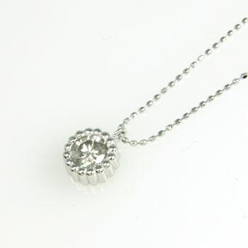 18金ホワイトゴールド(K18WG) ダイヤモンド 0.45カラット ペンダント ネックレス (幅0.8mm長さ42cm) typeA