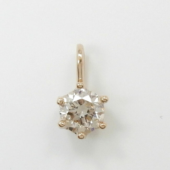 18金ピンクゴールド ライトブラウン ダイヤモンド 0.3ct6本爪ミルククラウン ペンダントヘッド送料無料
