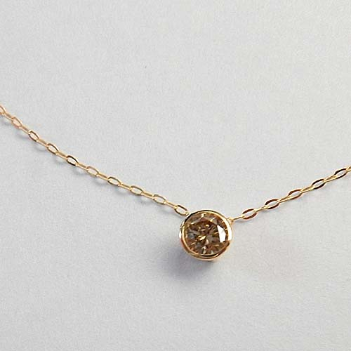 18金ゴールド(K18)ライトブラウンダイヤモンド(0.33カラット)SIクラス ペンダント ネックレス送料無料