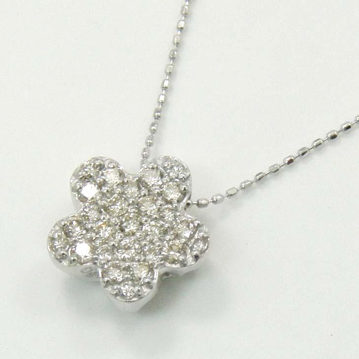 K18WG天然ダイヤモンド0.25ct typeAAAネックレス(長さ調節可能)