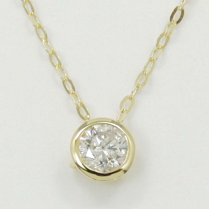 18金ゴールド ダイヤモンド 0.33ctペンダントネックレスTypeA+送料無料