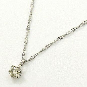 0.13カラット プラチナ(Pt900)ライトブラウンダイヤモンド0.13ctペンダント ネックレス(チェーン長さ42cm)送料無料