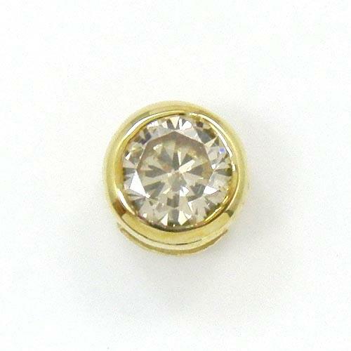 18金ゴールド ライトブラウンダイヤ(SI1) 0.35ct リバーシブルペンダントヘッド (地金面(裏)鏡面加工)送料無料