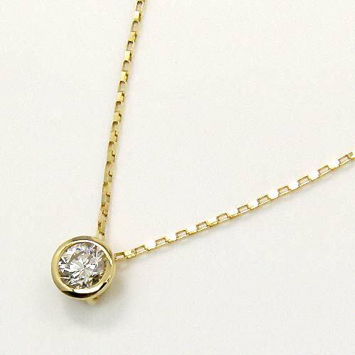 K18 天然ダイヤ(SI2・Iカラー) 0.33ctプチ ネックレス