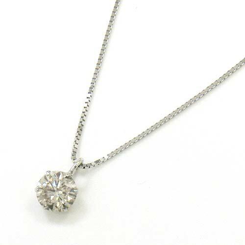 プラチナ ダイヤモンド0.4カラット(0.4ct) 六本爪シャンパンカラーI1クラリティペンダント ネックレス(ベネチアンチェーン 40cm)送料無料