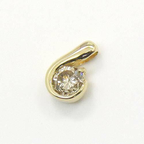 18金ゴールド/18金ホワイトゴールド2種類からお選びいただけます。ライトブラウンダイヤモンド 0.4カラットペンダントヘッド送料無料