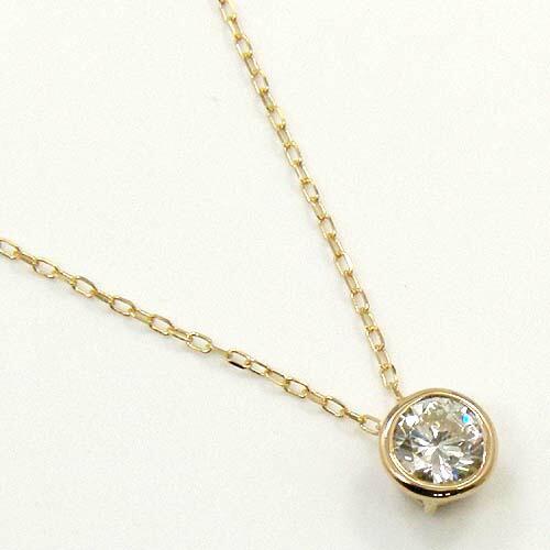 ダイヤモンドネックレス0.33カラット K10ピンクゴールド天然ダイヤ0.33ct(I1クラリティIカラー)ペンダントネックレス