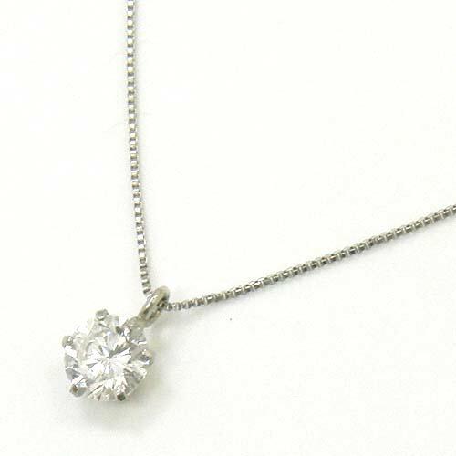 プラチナ(PT900)ダイヤモンド0.2カラット(0.2ct)6本爪ペンダントネックレスtypeAA