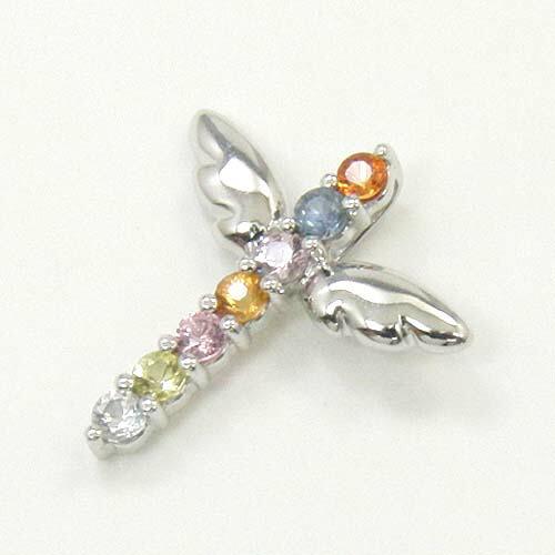 K18WG/K18 2種類の地金よりお選びください。ファンシーサファイヤ キセキアミュレット天使の羽根クロスペンダントヘッド