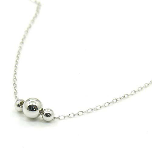 K10WG 丸玉(3 ball)ネックレス
