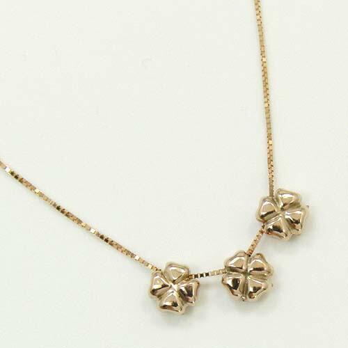 10金ピンクゴールド 四つ葉のクローバー ネックレス(パーツは固定できません)