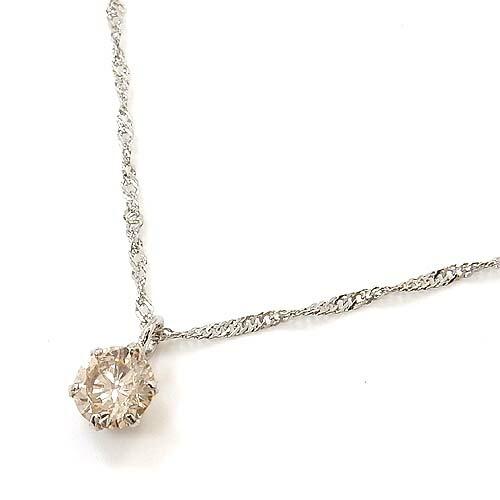 0.2カラット SI2 プラチナ(PT900)ライトブラウンダイヤモンド0.2ctペンダントネックレス(スクリューチェーン42センチ)送料無料