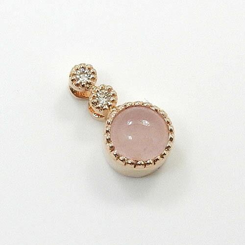18金ピンクゴールド(K18PG) ピンクジェイド ダイヤモンド ペンダントヘッド 送料無料