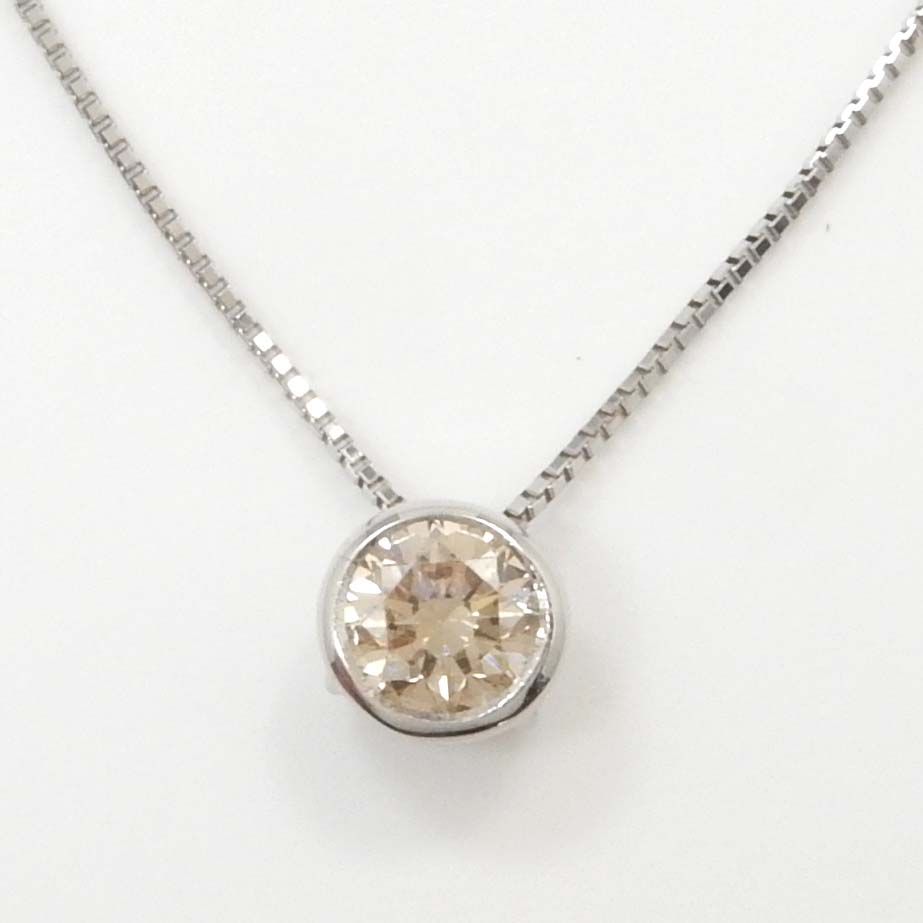 プラチナ900 ダイヤモンド0.33カラットシャンパンカラー ペンダント ネックレス プラチナ850 べネチアンチェーン (幅0.6mm・長さ40cm)【送料無料】【即納(4日前後発送)】