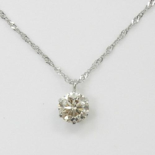 プラチナ(Pt900)ライトブラウンダイヤモンド(0.3ct) SIクラスペンダントネックレス(スクリューチェーン40cm)送料無料