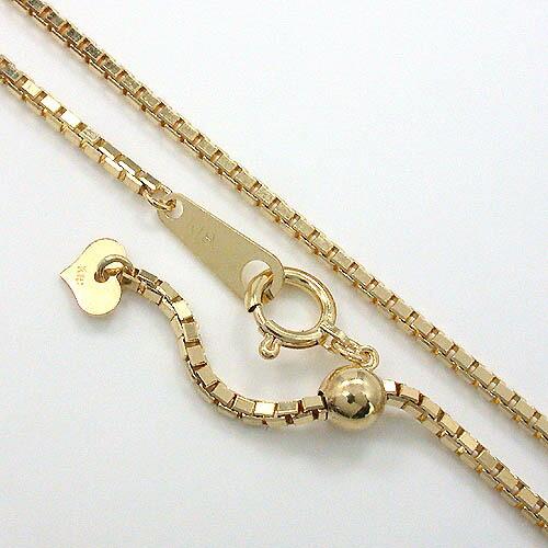 18金ゴールド(K18) べネチェーン(幅1.4mm長さ45cm/長さ調整可能)