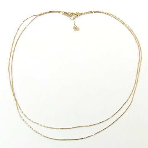 70センチ 18金ゴールド又はピンクゴールドベネチアンチェーン(ハートパーツ) ネックレス(幅0.7mm 長さ70cm・長さ調節可能式)