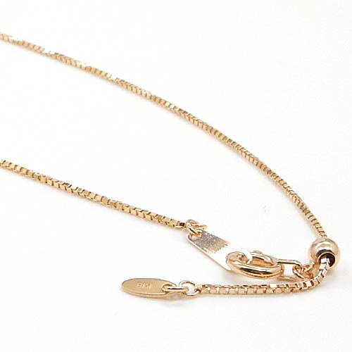 18金ピンクゴールド べネチアン スライド ネックレスチェーン(幅0.7mm・長さ45cm/長さ調整可能・オーバルバーツ)