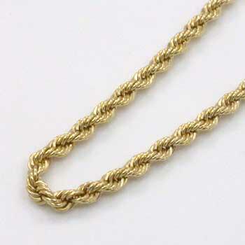 18金ゴールド(K18)ロープチェーン(幅2mm長さ17cm)一週間前後