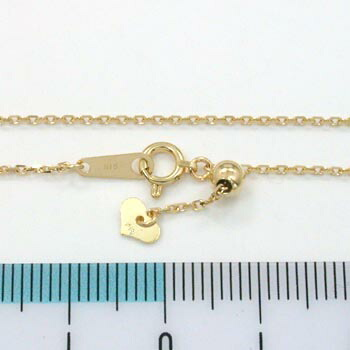 0.85ミリ幅 小豆チェーン 18金ゴールド小豆鎖 ネックレス(幅0.85mm・長さ45cm/長さ調節可能・ハートパーツ)角小豆 D141H 送料無料d141h
