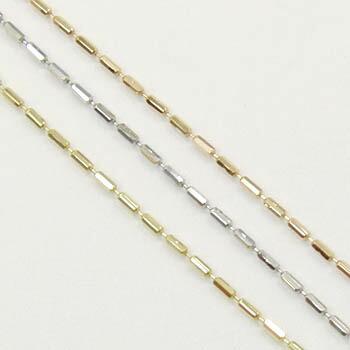 テーパーチェーン ネックレス(レーザーシリンダーチェーン)18金ゴールド/18金ピンクゴールド/18金ホワイトゴールド3種類よりお選びいただけます。 (幅0.8ミリ・長さ45センチ/長さ調整可能式) 送料無料