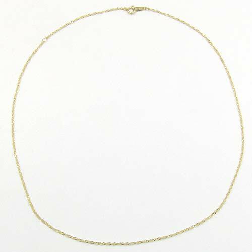 18金ゴールド/18金ホワイトゴールド2種類の地金よりお選びいただけます。スクリューチェーン ネックレス(幅1.3ミリ・全長42センチ/引き輪下5cmにアシャスター用マルカン)送料無料
