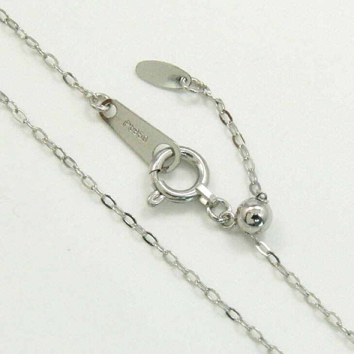 プラチナ850(PT850)リップクロスチェーン(幅1.0ミリ 長さ45センチ/長さ調整可能)ネックレス(オーバルパーツ)送料無料