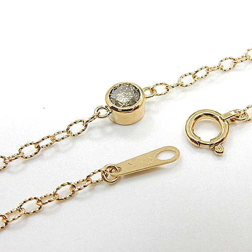 ライトブラウンダイヤモンド 0.15カラット18金ゴールド(K18) アソリアチェーン ブレスレット(幅1.5mm・長さ17cm)