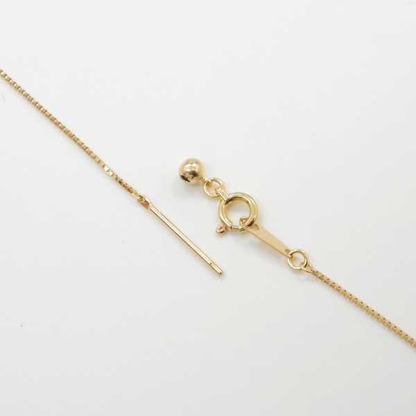 長さ45センチ 18金ゴールド(K18) ベネチアンチェーンスライドピン ネックレス引き輪プレート付(幅0.7mm 長さ45cm/長さ調整・抜き差し可能)送料無料