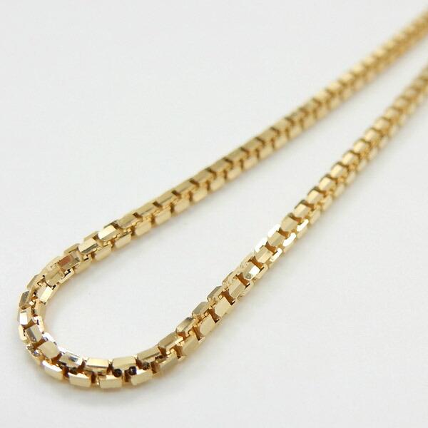 鎖18金新型カット ベネチアンチェーン ネックレス(幅1.4ミリ・長さ50センチ/長さ調節可能)18金ゴールド