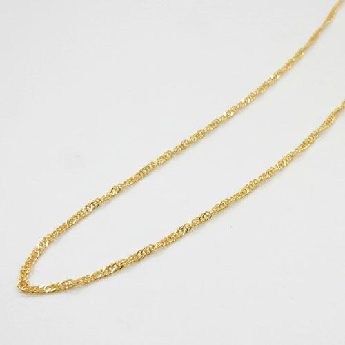 2.4グラム 純金(K24) スクリューチェーン(幅 約1.4mm 長さ42cm)ネックレス送料無料