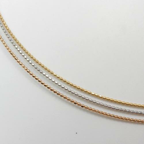 オメガ形状 長さ45センチ カットボール0.8ミリ18金ゴールド/18金ホワイトゴールド/18金ピンクゴールド3種類よりお選び下さい。スライドピンチェーン 抜き差し可能送料無料