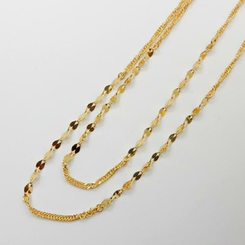 80センチ 純金(K24)スクリューチェーンペタルパーツ付き デザイン ロングネックレス(幅1mm・長さ80cm)送料無料