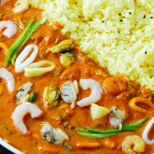 Seafood Curry (250 g) & Artie Sannomiya UConn rice (200 g) Kobe Curry's specialty!  Indian curry rice!