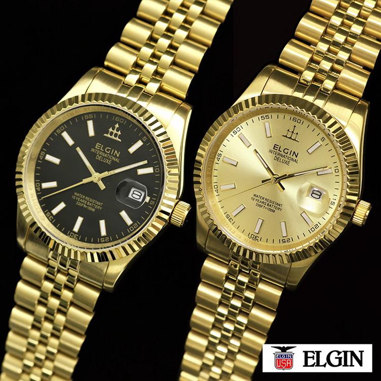 ELGIN(エルジン)デラックスDATE(FK1422G)※ゴールドカラー