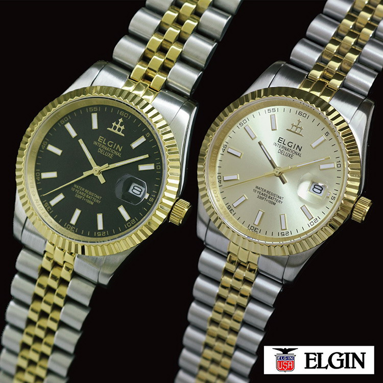 ELGIN(エルジン)デラックスDATE(FK1422TG)※ゴールド/シルバーのコンビカラー