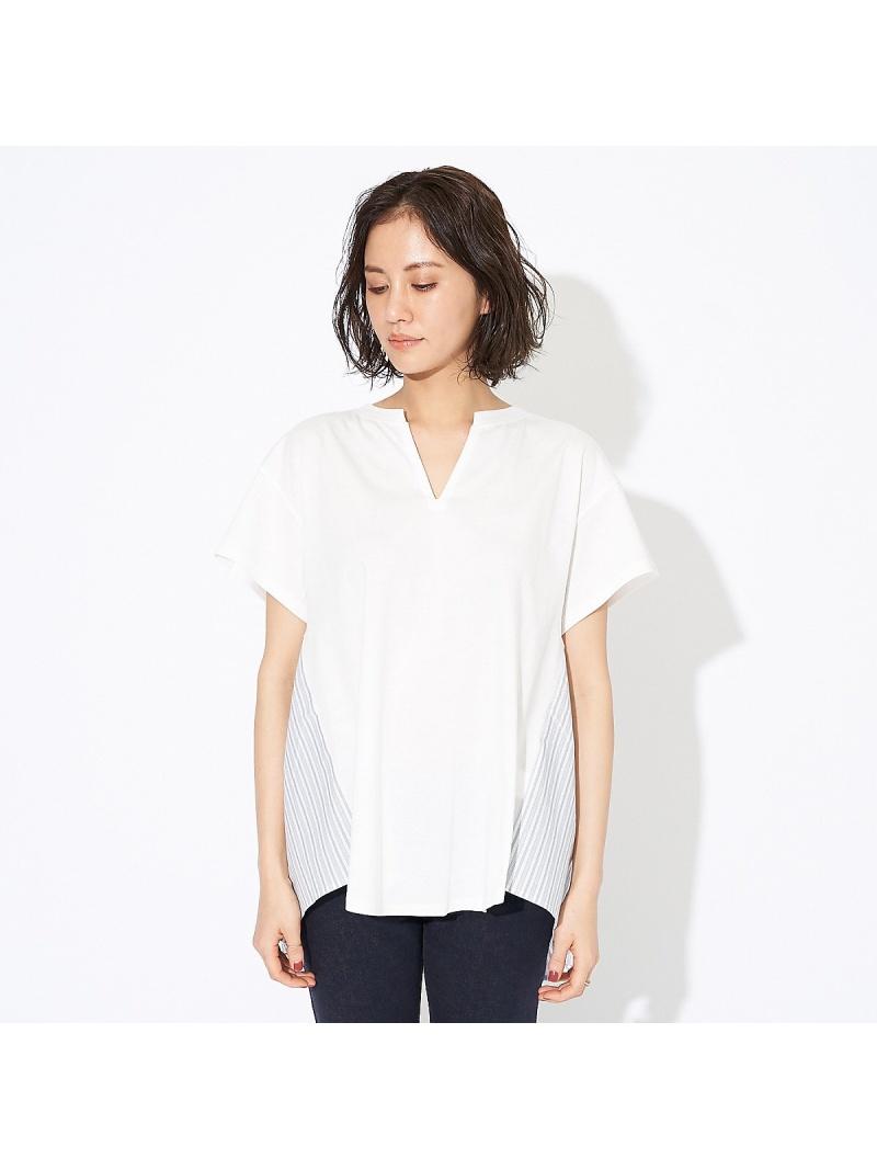 Rakuten FashionSALE 15 OFFWEB限定 スリットネック布帛切り替えカットソー qualite カリテ カットソー Tシャツ ホワイト ベージュ グリーン RBA E送料無料DH2EYIeW9b