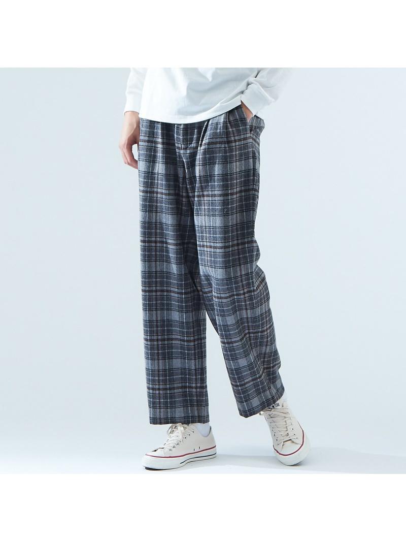 ABAHOUSE メンズ パンツ 日本限定 ジーンズ アバハウス LASTWORD SALE 50%OFF チェック Fashion グレー ワイドパンツ 2タック 送料無料 Rakuten 激安挑戦中 RBA_E フルレングス