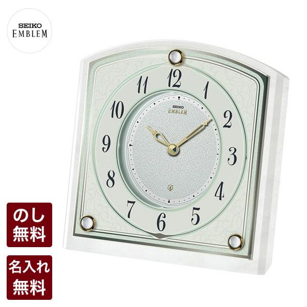 セイコー クロック 置時計 SEIKO EMBLEM セイコーエンブレム エムブレム 清楚で優しい印象を引き立てる:白蝶貝の飾りが魅力の小さな置き時計 HW588W