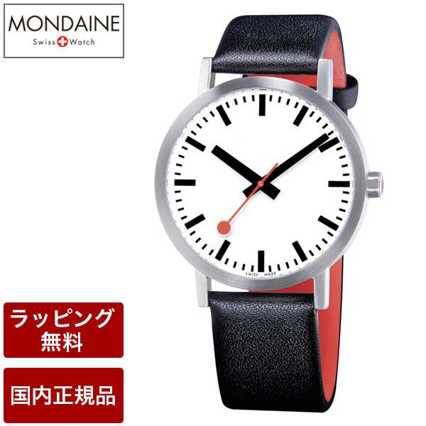 モンディーン 腕時計 MONDAINE Classic Pure クラシックピュア 40mm ホワイトダイアル ブラックレザー スイス製腕時計 A660.30360.16OM