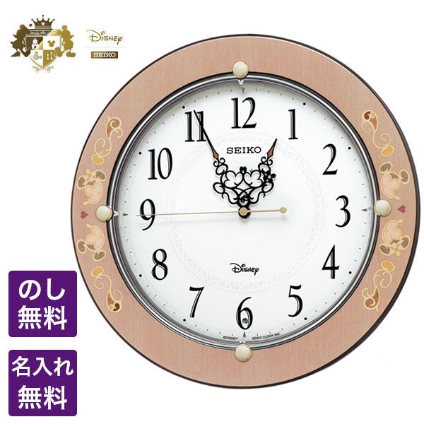 ディズニー 掛時計 SEIKO CLOCK セイコー クロック Disney ディズニー 電波掛時計 シックな象嵌風デザインのKiss & Heart ミッキー&ミニー FS511P