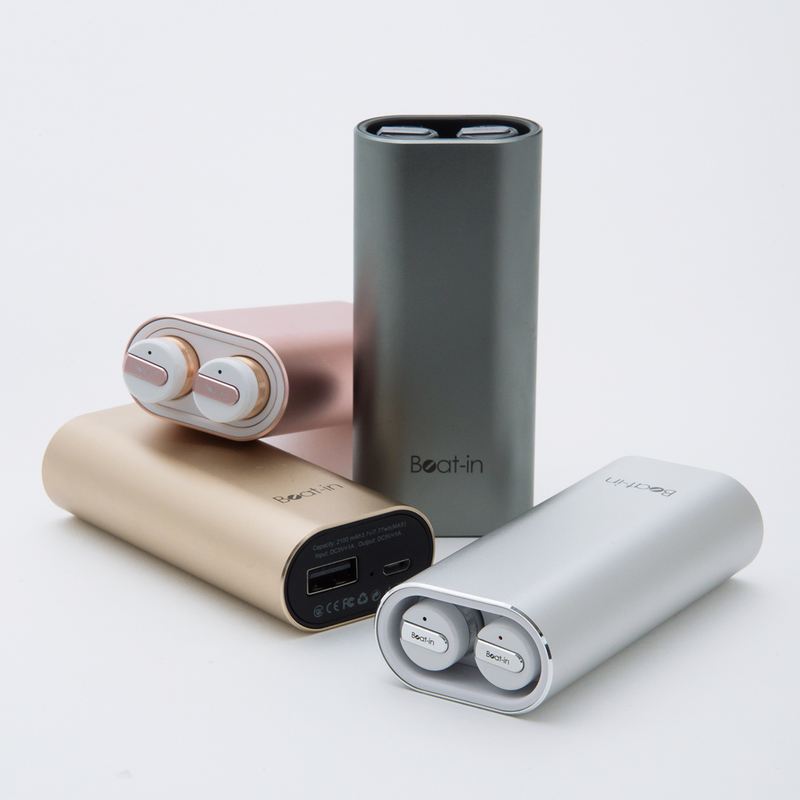 ブルートゥース イヤホン 完全ワイヤレスイヤホン Beat-in Power Bank(ビートイン パワーバンク)モバイルバッテリー付き 左右 完全独立型 超小型 無線イヤホン Bluetooth