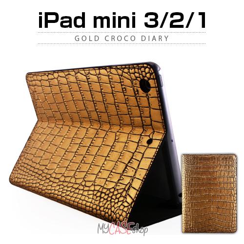 iPad mini3/2/1 ケース GAZE Gold Croco Diary (ゲイズ ゴールドクロコダイアリー)iPad mini3用,アイパッド ミニ,フラップタイプ,レザージャケット,iPad miniケース,iPad miniカバー,手帳型,フリップ,24金,クロコダイル