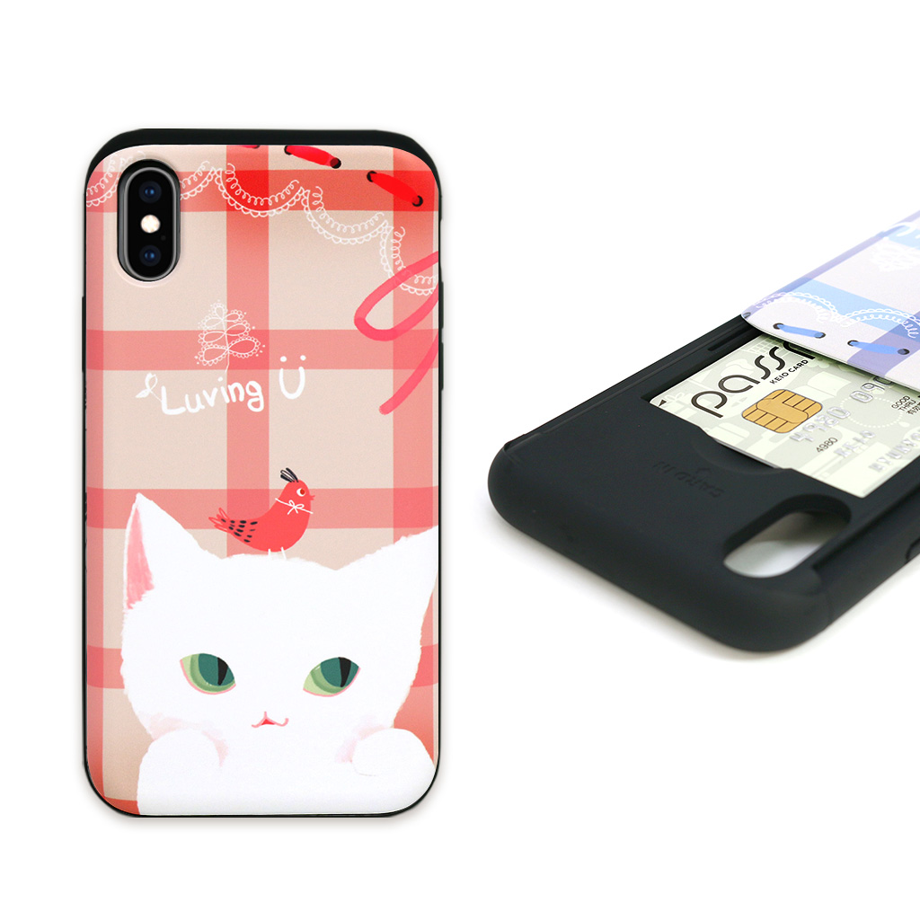 afd1878f3a iPhone XS / X case iPhone XR case Happymori Card slide Cat Couple (happy  harpoon ...