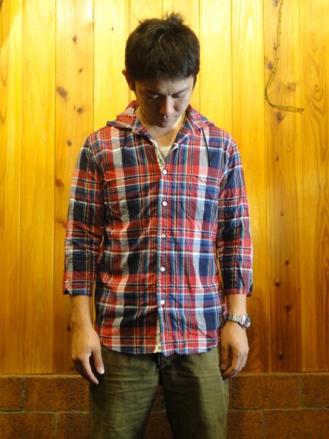 ■メイプル 海外限定 melple ■七分袖チェックフードシャツ■レッドチェック■ メンズ Lサイズ 新発売 M S