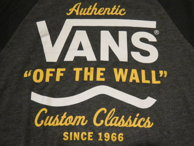 3bb89c06b5fdf1 □Vans (VANS) □ raglan sleeves three-quarter sleeves T-shirt □ VANS □ gray X  bar Gandhi □ men US (S) size