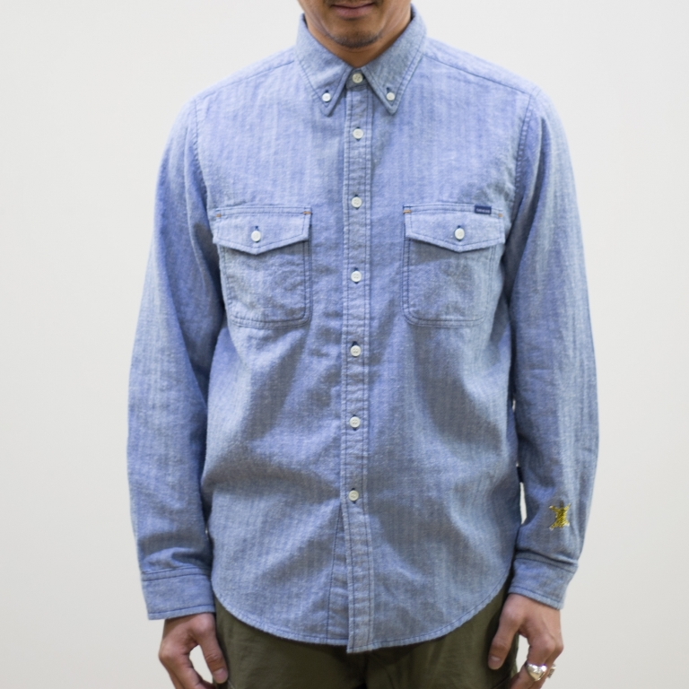 TURN ME ON ターンミーオン 買い物 インディゴ染 ヘリンボンL BLUE 送料無料 M Sシャツ 定価の67%OFF Lサイズ MENS