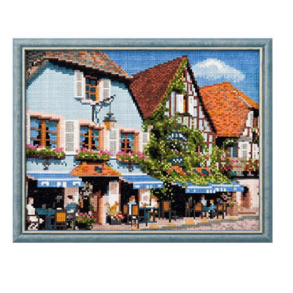 ルシアン 刺繍キット フランスの風景 アルザス地方のカフェメール便/宅配便可  no-711